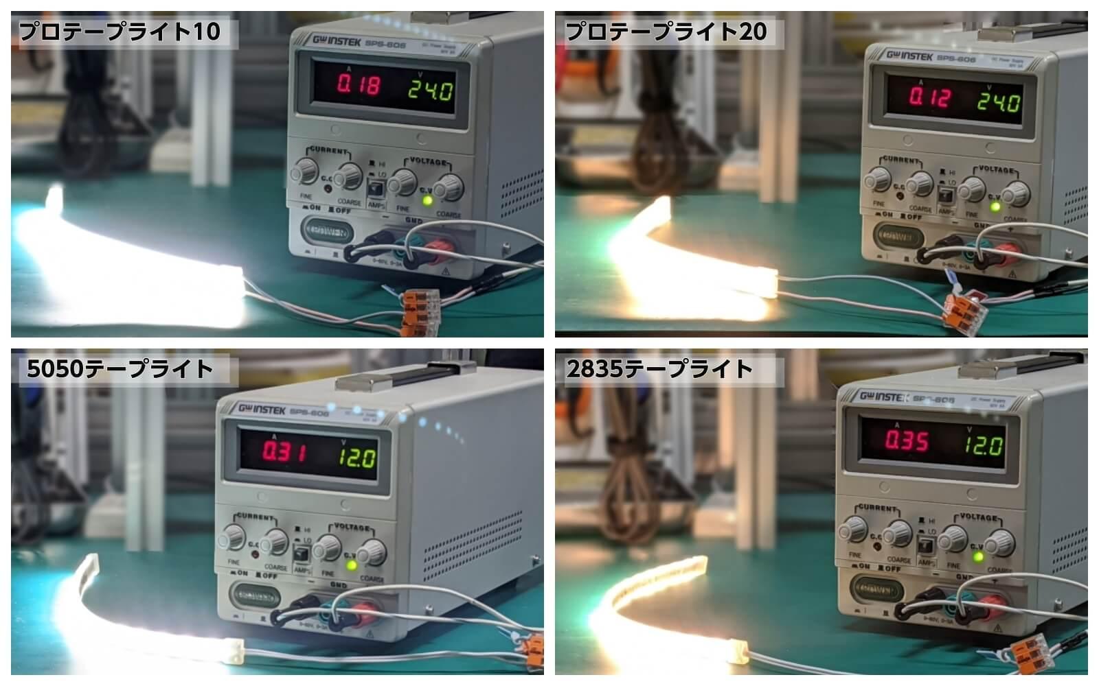 電気的な仕様の違いを比較、海外製テープライトVSプロテープライト